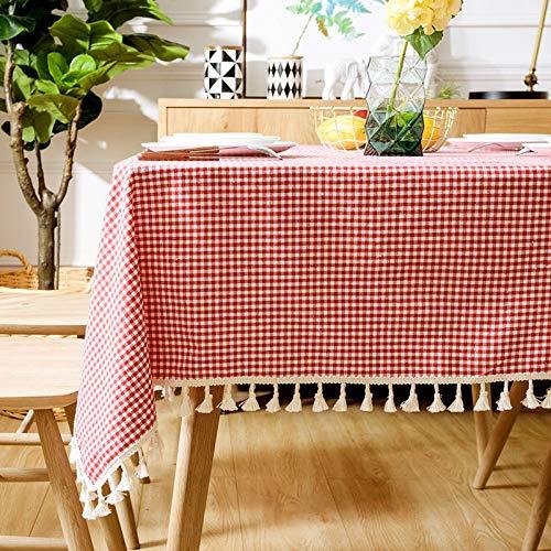 YCZZ Mantel De Estilo Nórdico Casero, Mantel Rectangular Impermeable A Prueba De Aceite De Lino De Algodón 120 x 120cm Mantel Rojo a Cuadros pequeño Mantel