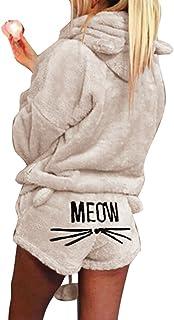 Pijamas Conjunto Piezas Otoño Invierno Mujer Pijama Caliente Cute Patrón Gato Capucha Pantalones Cortos Traje