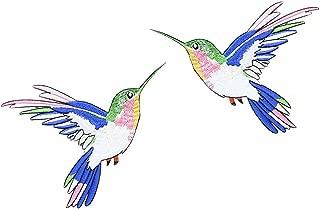 XUNHUI Hummingbird Sequin Embroidery Birds Patch Applique Iron Sew On Clothes Shirt Decorate Accessory Patchwork DIY 1Pair 12CMX15CM