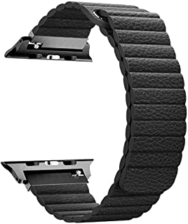 Promate Leather Smart Watch Band, Stylish Apple Watch 42mm/44mm Leather Loop with Adjustable Unique Magnetic Strap Replacement Wrist Strap for Apple Watch Series 1/2/3/4, Lavish-42 black