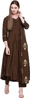 Khushal K Women's Rayon Salwar Suit Dupatta Set (Brown)