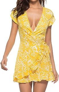 Womens Slim Tunic Dress Sexy Bandage V Neck Maxi Dress Boho Floral Printed Party Gown Dress Summer Beach Sundress
