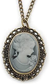 Avalaya Brass Cameo Pendant/Locket/Watch With Long Chain - 80cm Length (Quartz Clock)