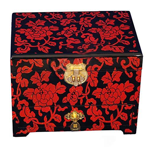 CXD Schmuckkästchen, Handbemalte Push Light Lack Schmuckschatulle Lack Holz Schmuckaufbewahrung Organisator Chinesische Orientalische Möbel Geschenke,Rot