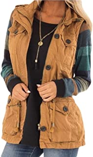 Women Lightweight Sleeveless Military Anorak Drawstring Jackets Vest