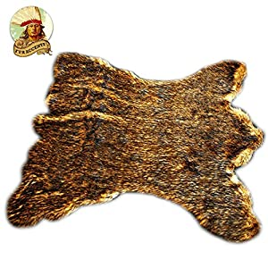 Golden Brown Alaskan Kodiak Bear Skin Throw Rug Premium Quality Fur Accents Faux Fur Pelt Rug/Americana Collection/Designer Throw Carpet/Wolf/Coyote (5'x7′)