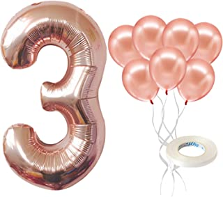 Rose Gold Number 3 Balloon Set – Large, 40 Inch | Rose Gold Latex Balloons, Pack of 7 | 3rd Birthday Decorations For Girls...