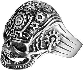 Anello Uomo Titanio Cinturino in Cranio Retrò da Festa Ogni Giorno, WLG, acciaio, taglia 8