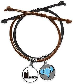 CaoGSH Zombie with The Word Zombie Bracelet en cuir avec chaîne de main Motif éléphant