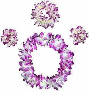 AniiKiss Hawaiian Flower Leis Hula Garland Necklaces Bracelets Headband Jumbo Simulated Silk Flower for Luau Party Favor