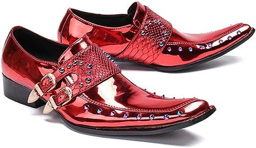 Mr.Zhang's Art Home Men's zapatos zapatos de Hombre de Negocios Casuales estilistas de Pelo rojo zapatos