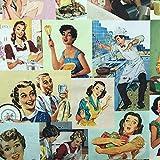 Kt KILOtela Tela por Metros de loneta Estampada Digital - Half Panamá 100% algodón - Ancho 280 cm - Largo a elección de 50 en 50 cm | Anuncio Vintage - Multicolor