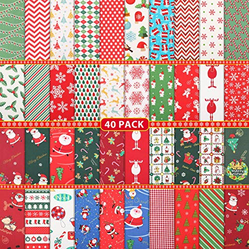 40 Pieces Christmas Fabric Quilting Fabric Squares Fat Quarters Precut Sewing Fabric Patchwork Christmas Tree Snowflake Printed Fabric Scraps for Dress Apron Crafts, 10 x 10 Inch/ 25 x 25 cm