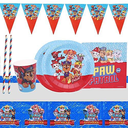 Gxhong - Set da 52 pezzi, motivo: Paw Dog Patrol, per feste di compleanno per bambini, include striscione, tovaglia, piatti, tazze, tovaglie, tovaglioli, forchette, coltelli, cucchiai e cannucce