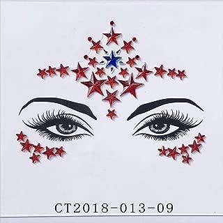 Star Dance Party Adornos para la cara Festival Party Face Brow Sticker Body Sticker Gem Face Tatuaje temporal 6 piezas