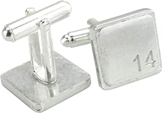 Square Cufflinks with '14' Engraved - 14th Anniversary