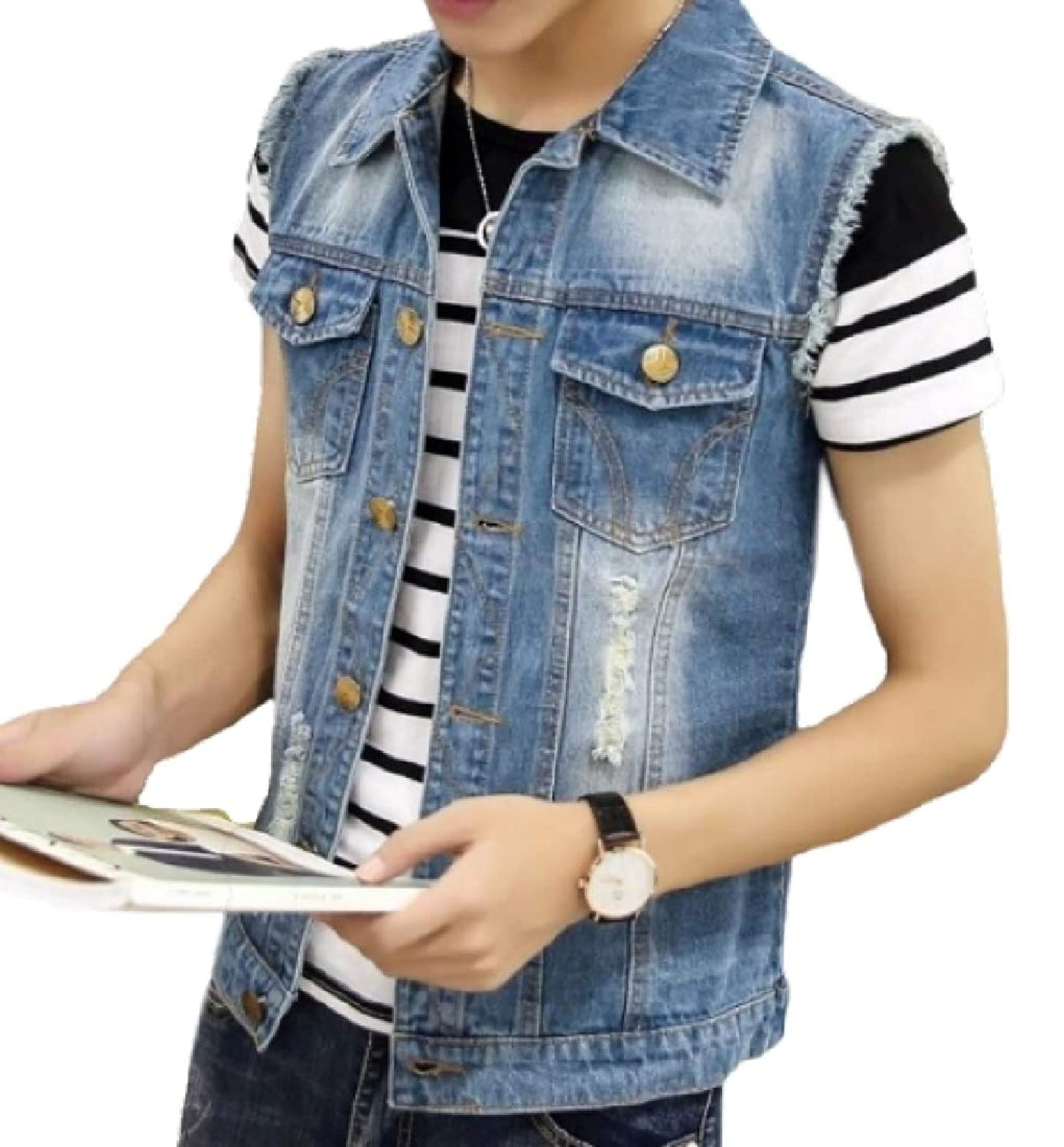 X-Future Mens Casual Destroyed Ripped Hole Washed Denim Button Down Vest Jacket
