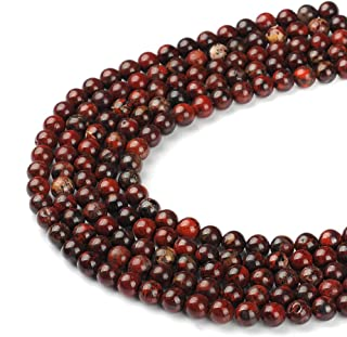 FANGQUN AAA Indian Bloodstone Beads for Bracelets Natural Powerful Stone Beads Round for Jewelry Making Chakra Beads DIY Projects (Redstone, 6mm)
