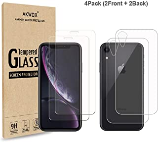 (4-Pack) Compatible with iPhone XR Screen Protector with Back Covers, Akwox 9H Tempered Glass Front Screen Protector and B...