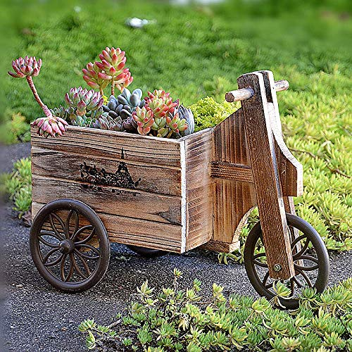 erddcbb Dreirad Sukkulente Pflanzer Fahrrad Fahrrad Holz Outdoor Garten Terrasse Japanischer Stil Blumenkorb Topf, Rechteck