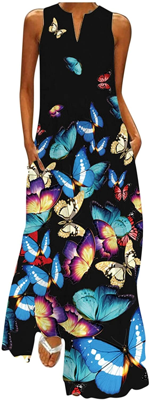 ManxiVoo Women Sleeveless Printing Split V-Neck Maxi Dress Summer Party Cami Dress with Pockets