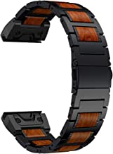 LDFAS Fenix 6X/5X Plus Band, Natural Wood Red Sandalwood Stainless Steel Metal Watch Band, 26mm Quick Release Easy Fit Strap Compatible for Garmin Fenix 6X Pro/5X/5X Plus/3/3HR/Descent Mk1 Smartwatch