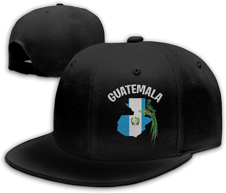 Flag Map and Quetzal Bird of Guatemala Flat Bill Hat Snapback Hats for Men Baseball Cap Trucker Hats Mens Adjustable Black