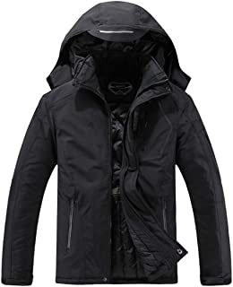 SUOKENI Men's Waterproof Ski Jacket Warm Winter Snow Coat Hooded Raincoat