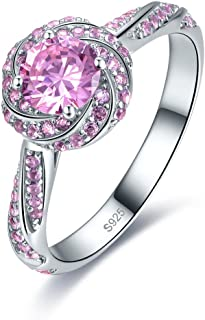 Jrose Created Pink/Blue Topaz Women's Halo Engagement Ring in Sterling Silver