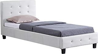 IDIMEX Lit Simple pour Adulte ou Enfant TICO Couchage 90 x 190 cm avec sommier 1 Place / 1 Personne, tête et Pied de lit c...