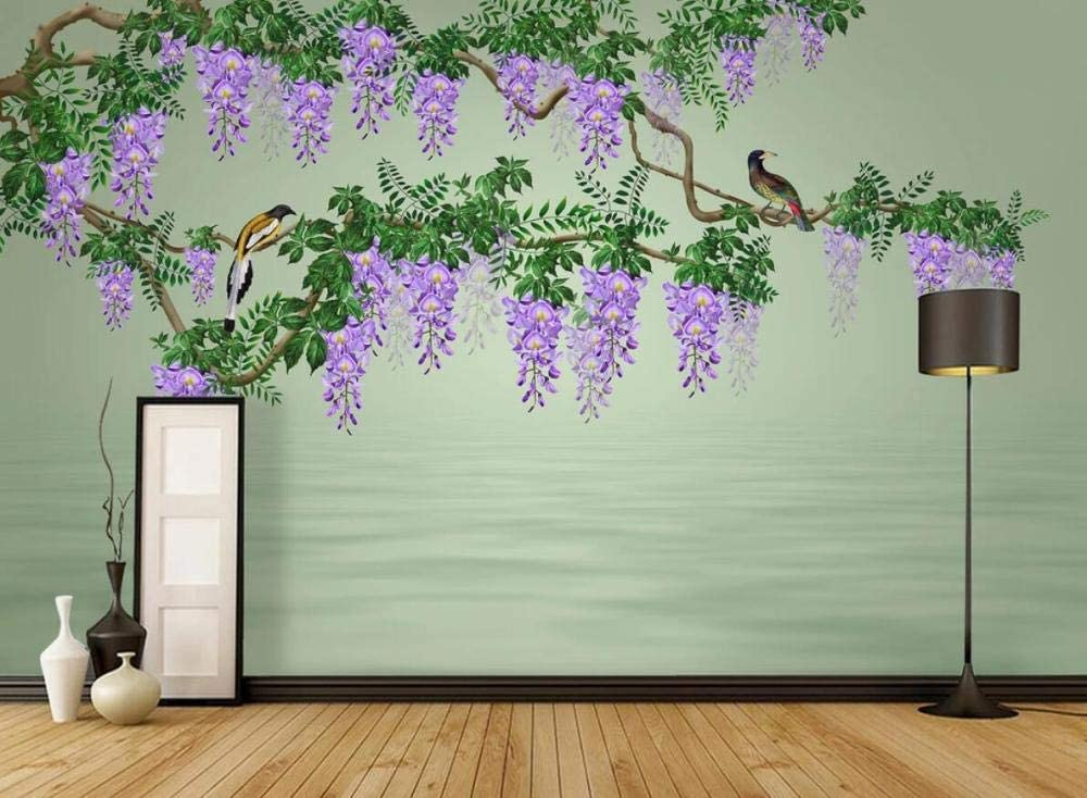 National products Wall Murales 3D Wallpaper At the price of surprise Wisteria Pattern Bird Flower Water and