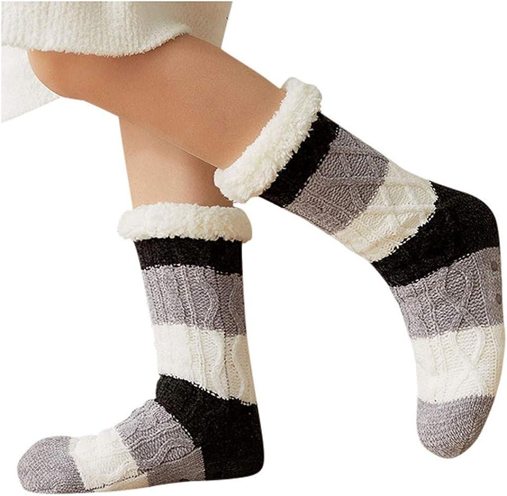 Women Non Slip Warm Winter Socks Print Stripe Casual Mid Tube Cute Socks
