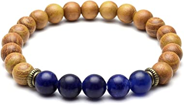 QGEM 7 Chakra Healing Natural Amethyst Lava Stone Diffuser Bracelet with Tree of Life Pendant, for Essential Oil Yoga Meditation Reiki Balancing,Set of 2