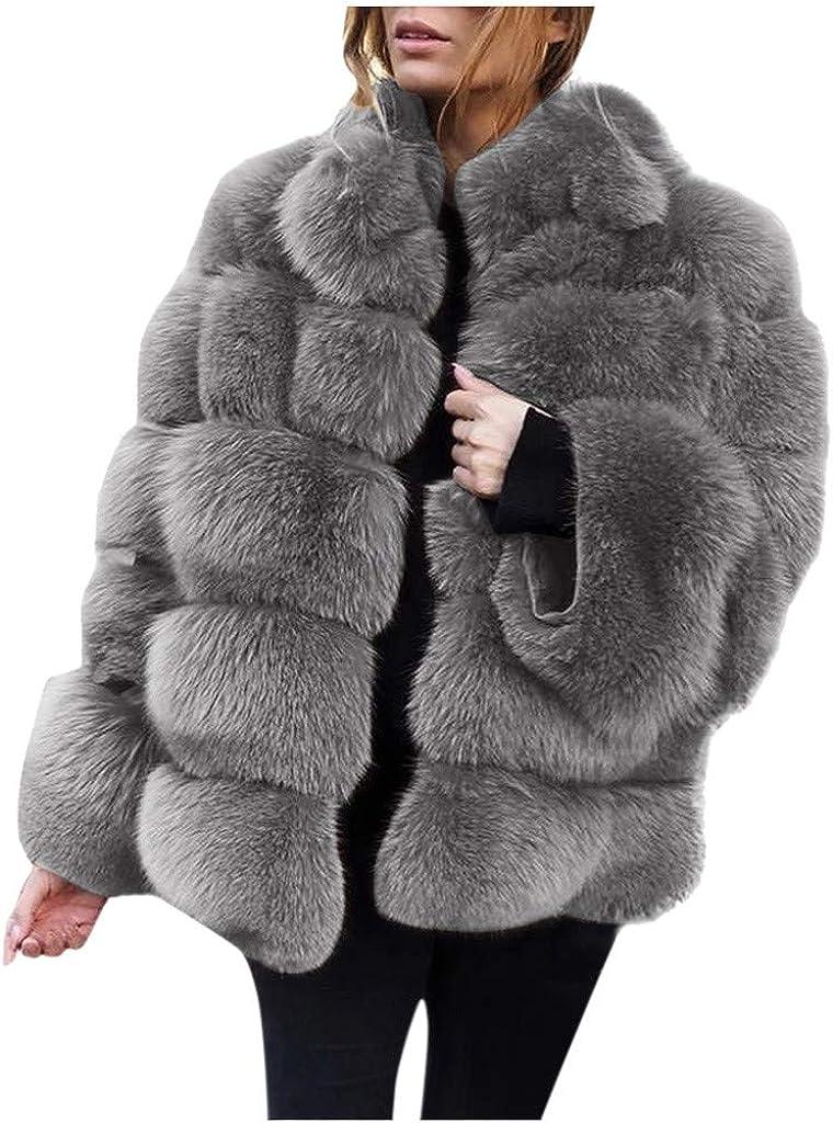 VIVIYY Furry Faux Long Jacket Women Short Faux Coat Warm Outerwear