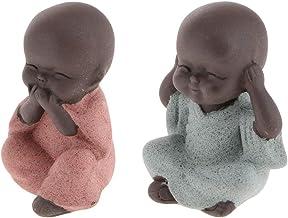 #N/A 2Pcs Joyful Ceramic Baby Monk Statue Figurine Porcelain Table Decor New