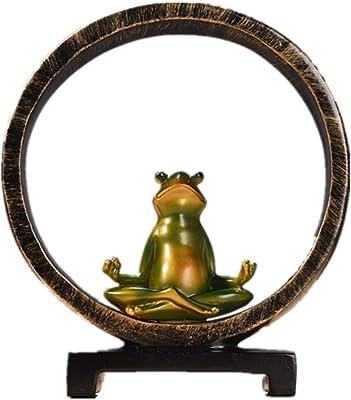 CHENJJ Escultura Decorativa Rana De Resina Yoga Miniaturas ...