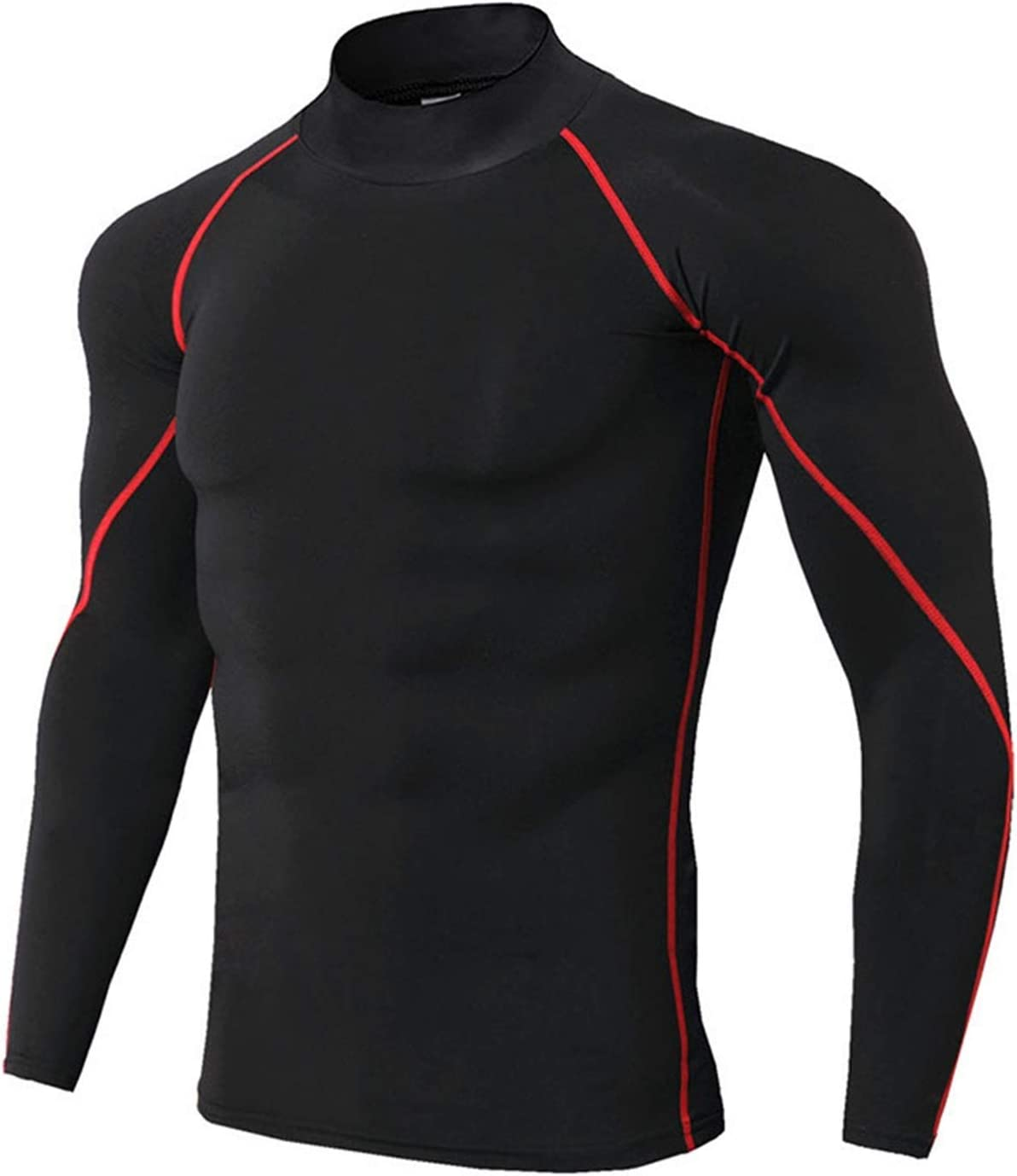 Glqwe Thermal Underwear for Men high Collar Sport Thermo Shirt Quick Dry Compressed Underwear Clothes Men (Color : Red sew, Size : Large)