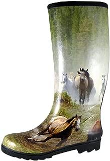 Smoky Mountain Women's Running Horses Tall Rubber Rain Boot, Print, 7 M US