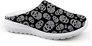 Men's Slippers Mesh Clog Mules Beach Shoes Doodle Skull White Black Design Fashion Sandals Man Flat Shoes Overlay Garden S...