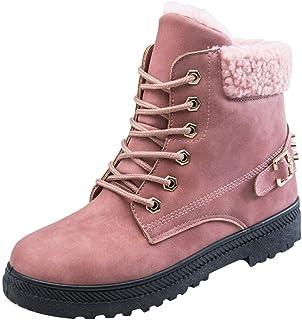 [花千束_シューズ] レディース 無地 アップブーツ カジュアル 丸トウ 冬 雪ブーツ 防水 裏起毛 暖かい 防寒 スノーブーツ 冬靴