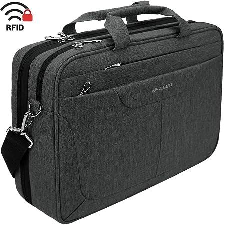 KROSER Borsa per Laptop da 15,6'' Borsa a Tracolla per Laptop Custodia per Tablet Idrorepellente con Tasche RFID per College/Scuola/Affari/Donne/Uomini-Carbone Nero