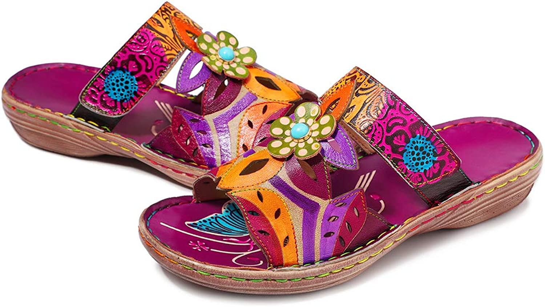 CrazycatZ Womens Slide Sandals, Leather Flat Sandal Slip On Flip Flop shoes Flower Splicing Sandals