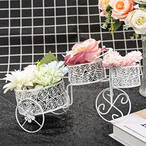 LONGBLE Soporte decorativo para plantas en forma de triciclo con 3 cestas de hierro forjado, soporte para flores, bicicleta, jarrón, decoración para boda, salón, jardín, balcón, color blanco