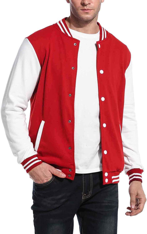 COOFANDY Mens Slim Fit Varsity Baseball Jacket Bomber Cotton Premium Jackets Red at  Men's Clothing store