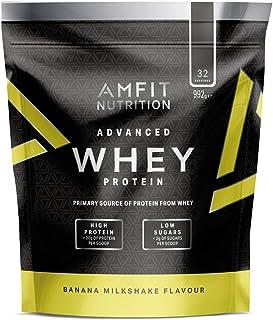 Marca Amazon - Amfit Nutrition Proteína Whey de suero de leche sabor batido de plátano, 32 porciones,  990 g
