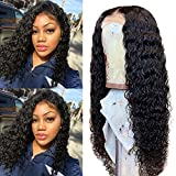 Human Hair Wigs Lace Front for Black Women with Baby Hair Deep Culy Wave Wig Brazilian 150% Density Wet Wavy Pre Plucked Virgin Hair Wig Bleached Knots 9A Glueless Unprocessed Hair Natural Color 10 Inch