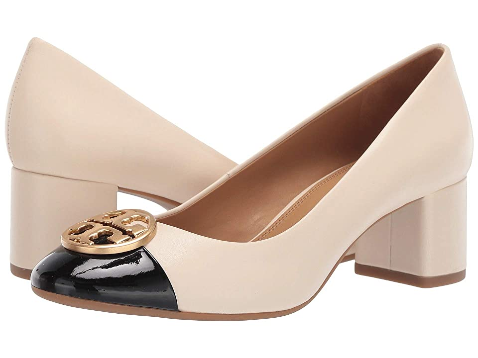 2461518b9da Tory Burch 50 mm Chelsea Cap-Toe Pump (New Cream Perfect Black) Women s  Shoes