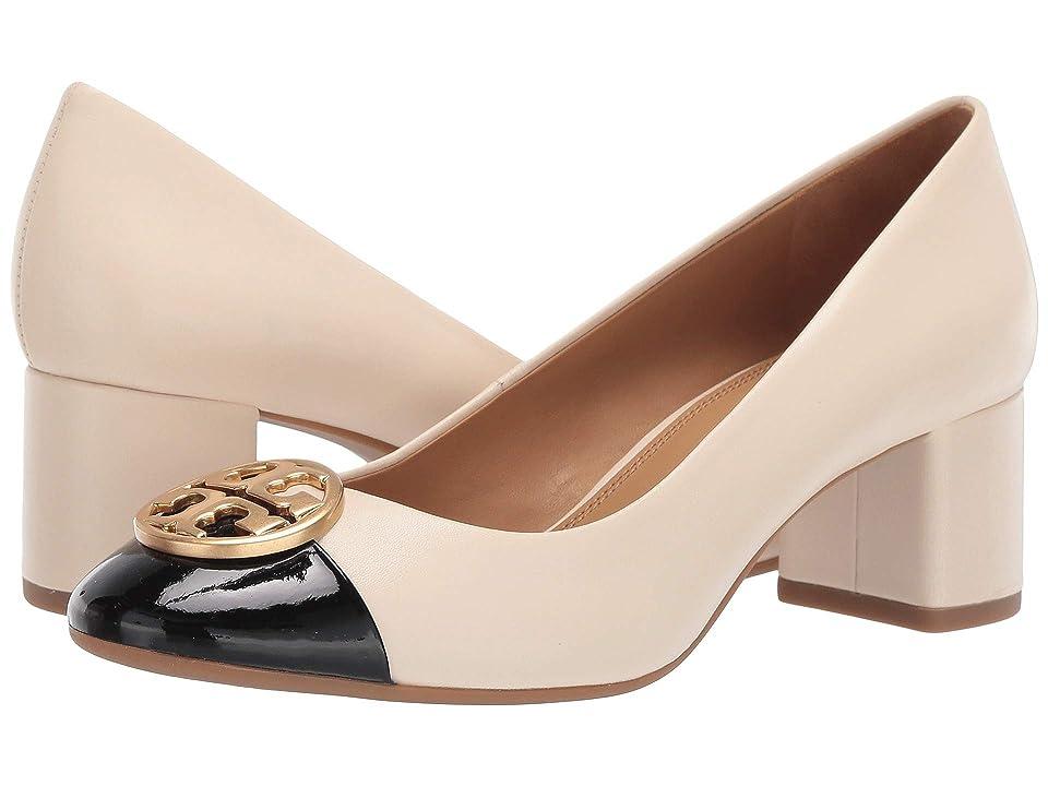 3c07945ff63a5 Tory Burch 50 mm Chelsea Cap-Toe Pump (New Cream Perfect Black) Women s  Shoes