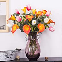YILIYAJIA Calla Lily Artificial Tulips Bouquets Bridal Real Touch Flowers with Silver Dollar Eucalyptus for Wedding Home Table Decoration (White red and Sunset)