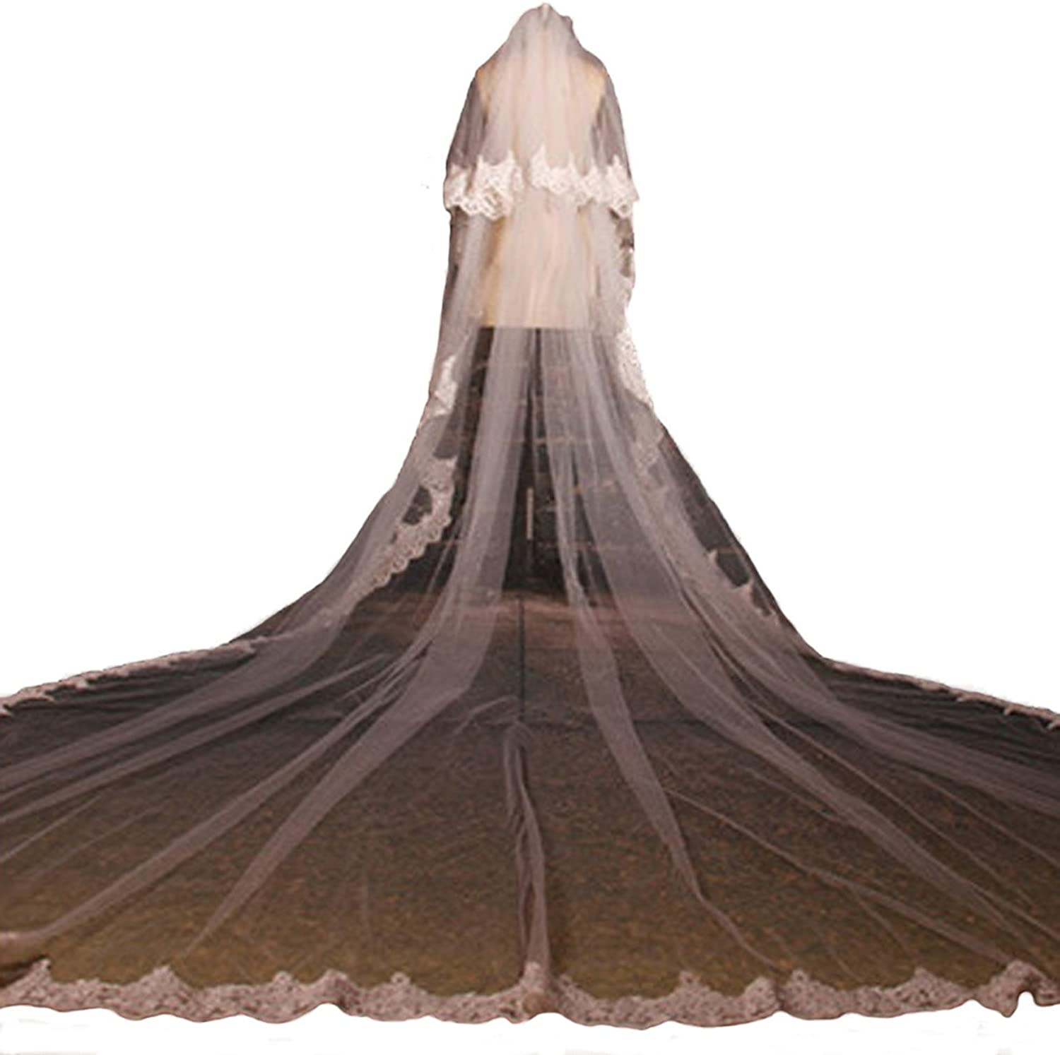 AliceHouse Women's 2T Long Lace Veil Cathedral Bridal Wedding Veils 11053